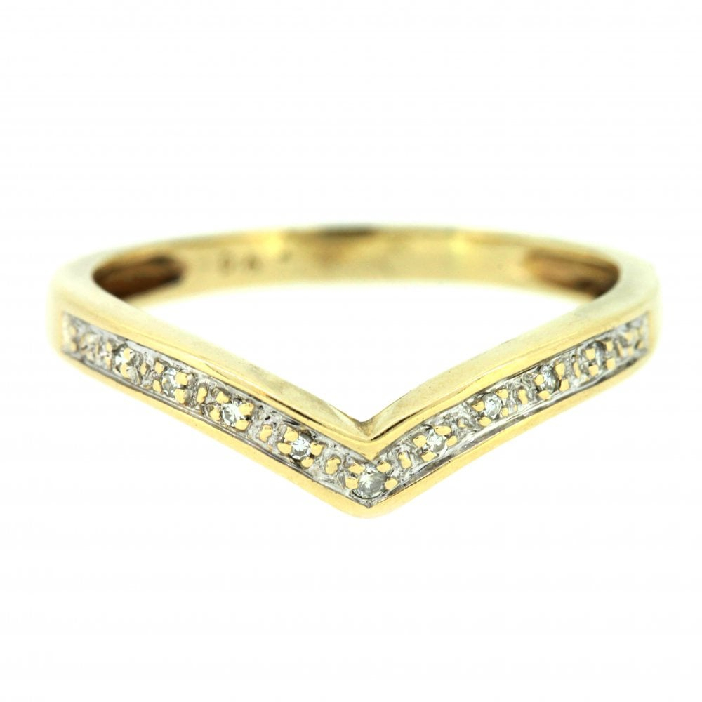9ct Yellow Gold Diamond Wishbone Ring For Most Popular Sparkling Wishbone Rings (View 18 of 25)