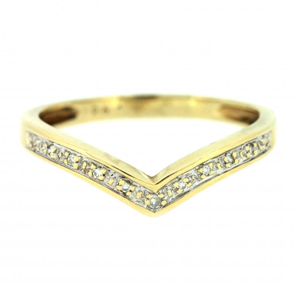 9ct Yellow Gold Diamond Wishbone Ring Inside 2018 Sparkling Wishbone Rings (View 18 of 25)
