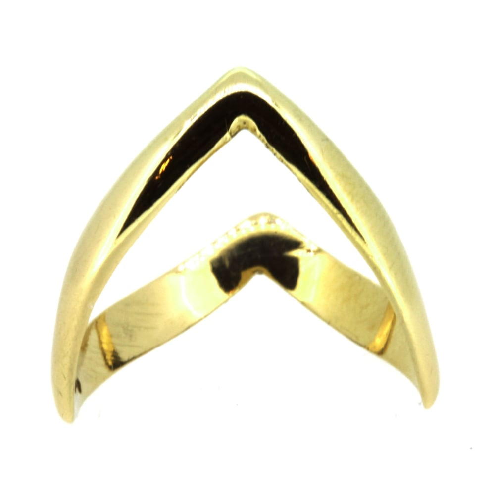 9Ct Yellow Gold Double Wishbone Ring In Recent Polished Wishbone Rings (View 7 of 25)