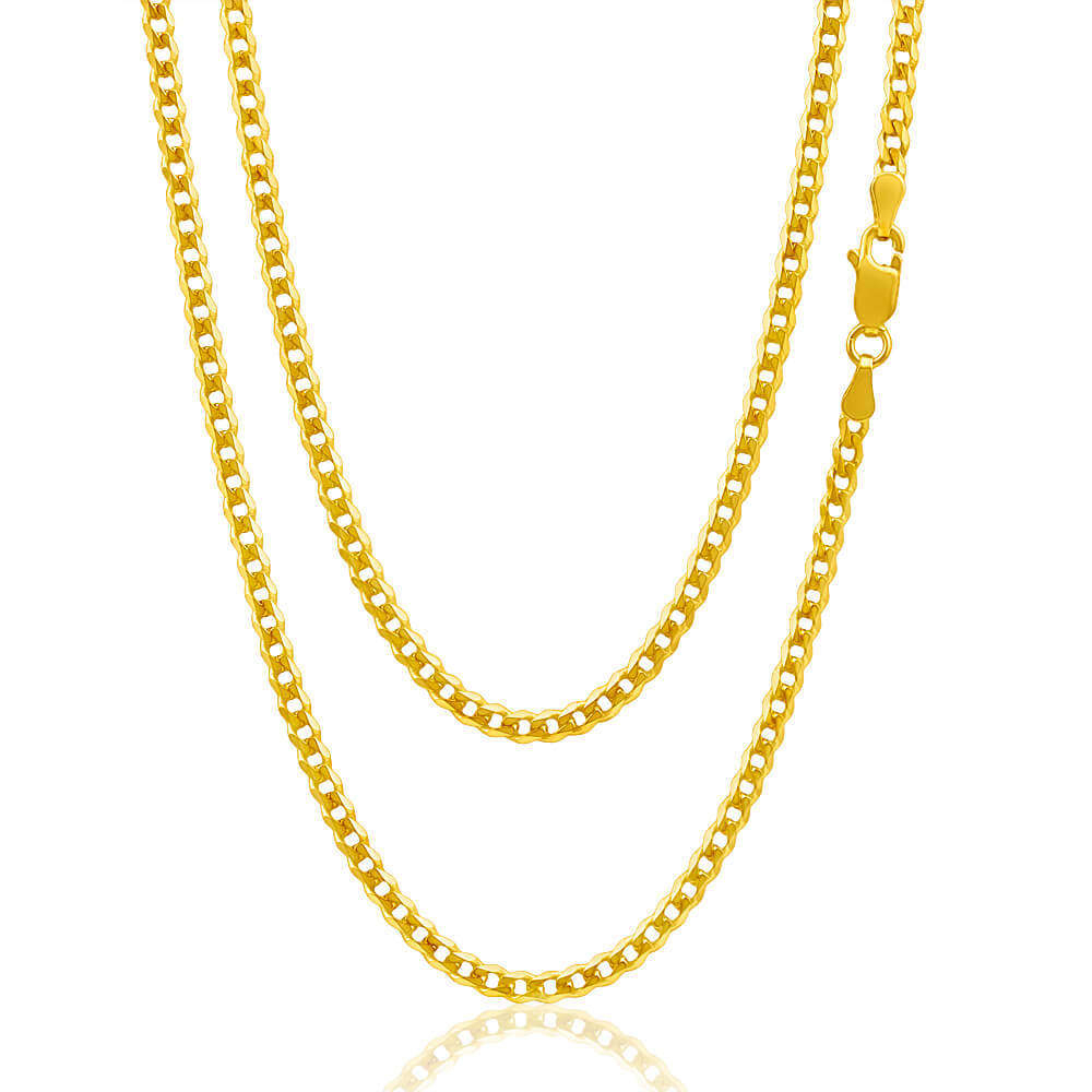 9ct Yellow Gold Flat Bevelled Curb Chain Necklace 18 Inch 9 Grams Intended For Newest Curb Chain Necklaces (View 18 of 25)
