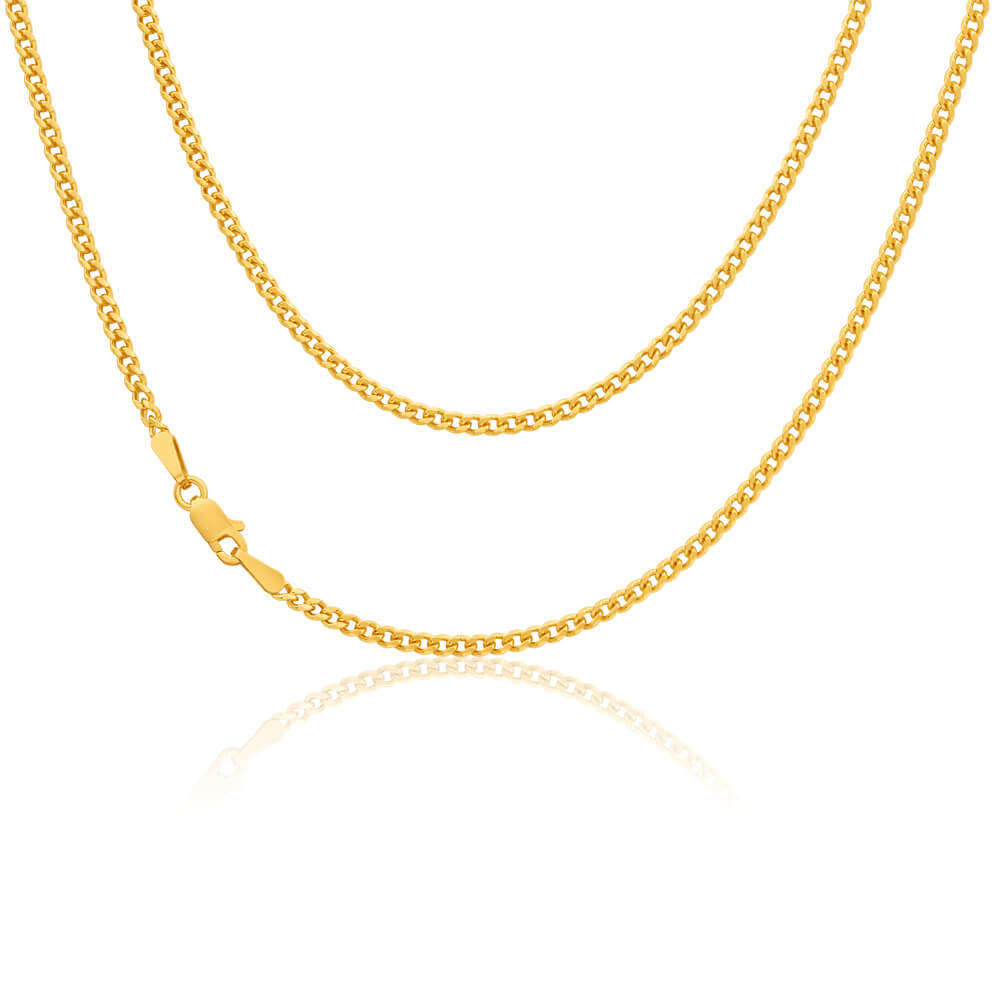 9ct Yellow Gold Flat Bevelled Curb Chain Necklace 18 Inch Regarding Most Recently Released Curb Chain Necklaces (View 10 of 25)
