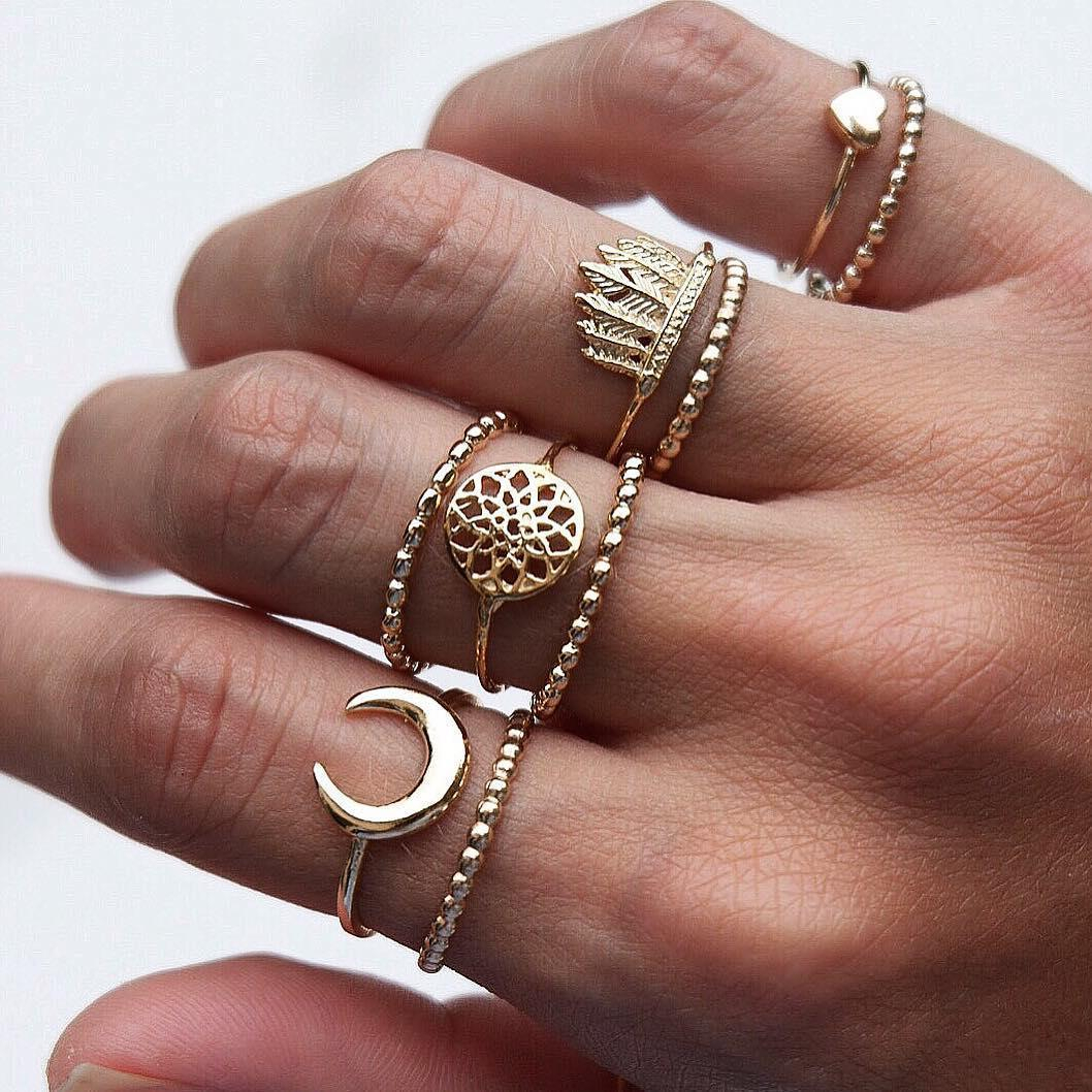 9Pcs Bohemian Ring Set Vintage Moon Heart Flower Crown Silver Gold Knuckle Rings Gift For Women With Most Current Flower Crown Rings (View 7 of 25)