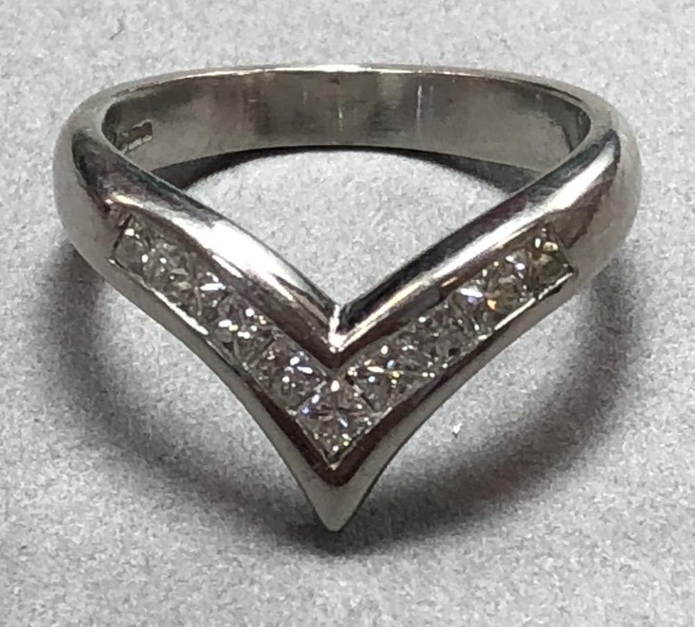 A Platinum And Princess Cut Diamond Wishbone Ring, The Uniform Band Intended For 2018 Princess Wishbone Rings (View 6 of 25)