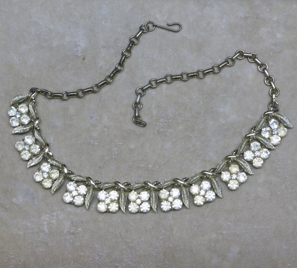 A Pretty Vintage Necklace In Rhinestone Four Petal Flowers In Most Recently Released Four Petal Flower Necklaces (View 6 of 25)