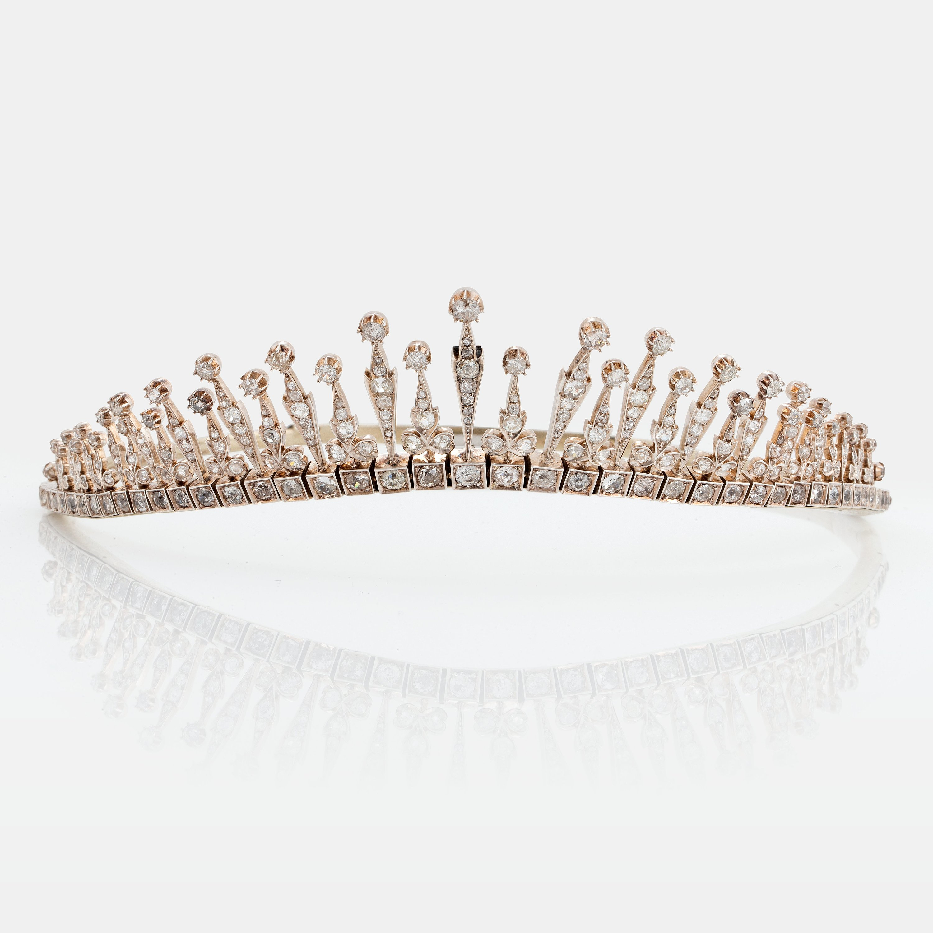A Tiara/necklace Combination In 9k Gold And Silver Set With Old Cut For Most Up To Date Tiara Crown Collier Necklaces (View 18 of 25)