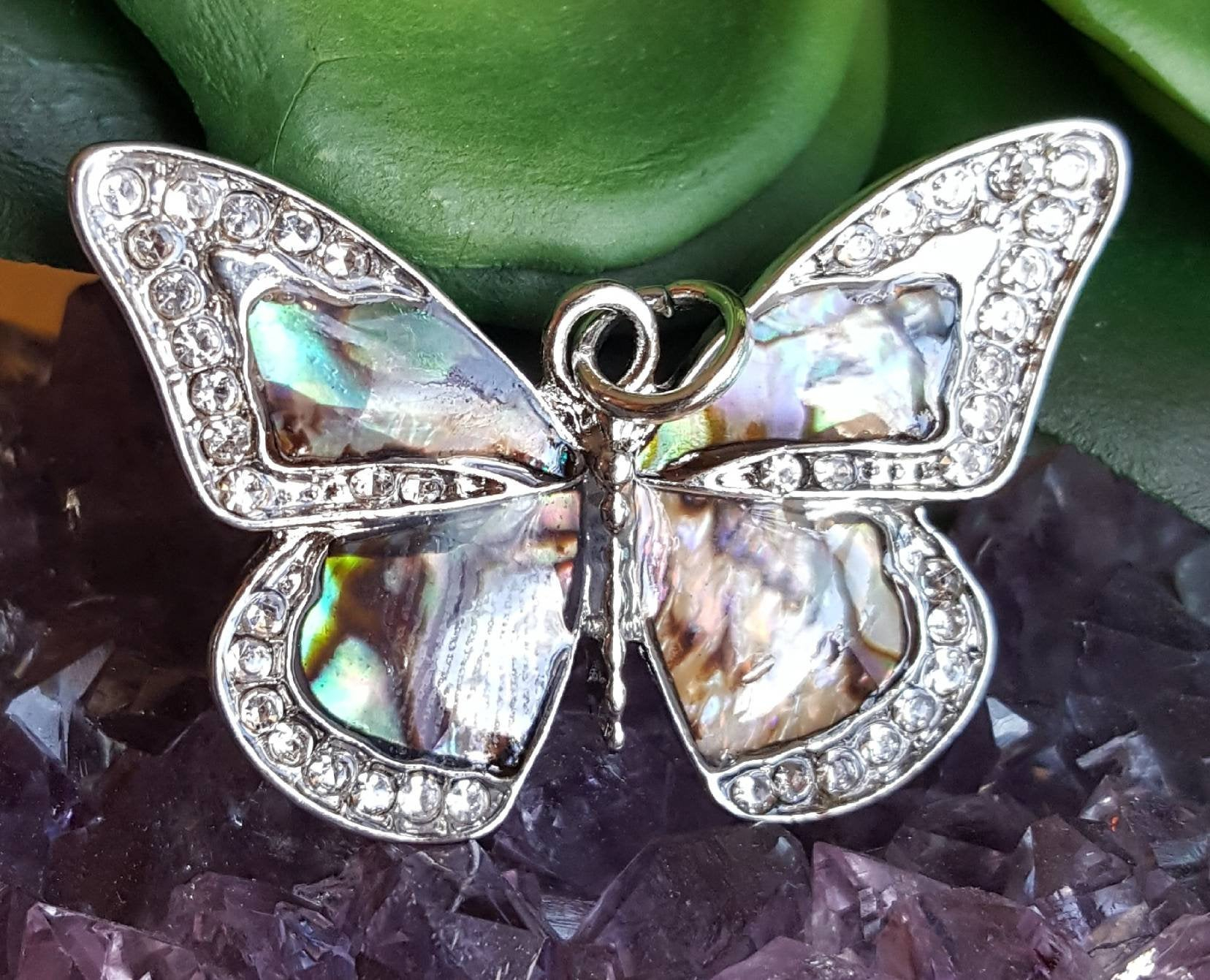 Abalone Butterfly Pendants With Crystals, Colorful Butterfly Necklace Pendants, Pave Crystal Butterfly, Big Silver Butterfly, Blue Butterfly In Latest Blue Pavé Butterfly Brooch Necklaces (View 9 of 25)