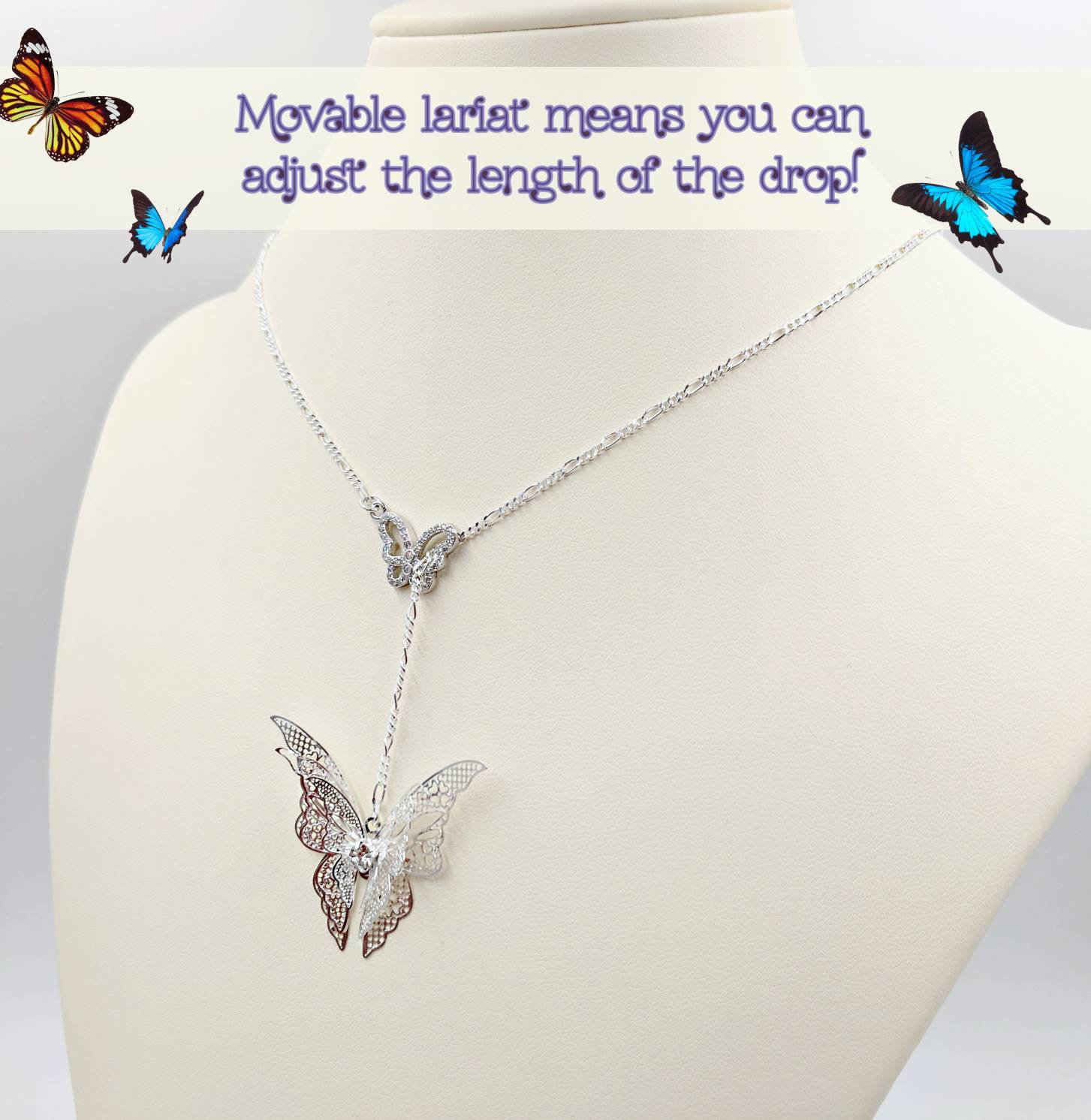Adjustable 3D Butterfly Necklace, Infinity Lariat Y Butterfly Necklace; 925  Filigree Butterfly, Pave Cz Butterfly Center, Infinity Close In 2019 Sparkling Butterfly Y  Necklaces (View 4 of 25)