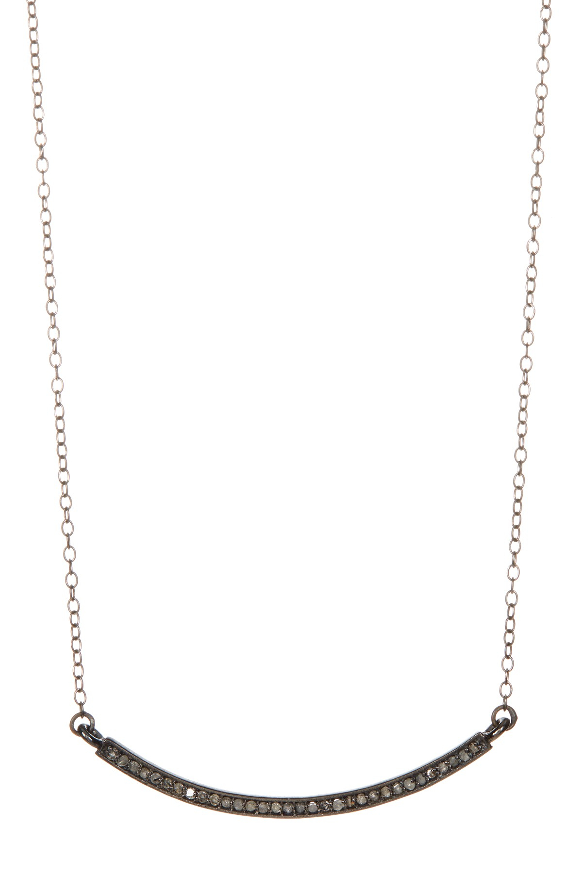 Adornia | Mercer Champagne Diamond Curved Bar Necklace – (View 15 of 25)