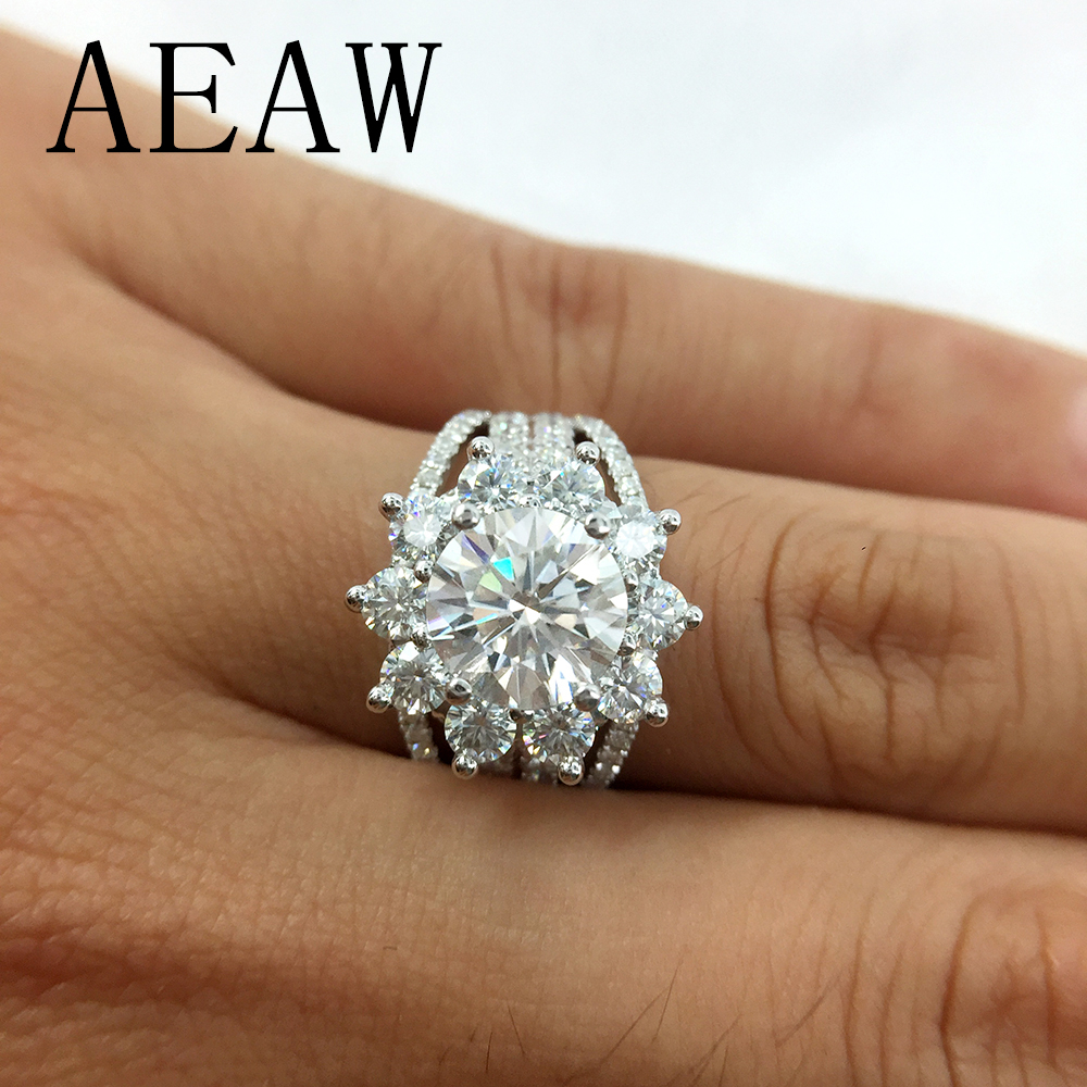 Aeaw Moissanites Engagement Ring 7mm 3ctw Df Color Lab Diamond Accent 14k White Gold Wedding Rings For Women Intended For Best And Newest Diamond Accent Anniversary Bands In Gold (View 16 of 25)