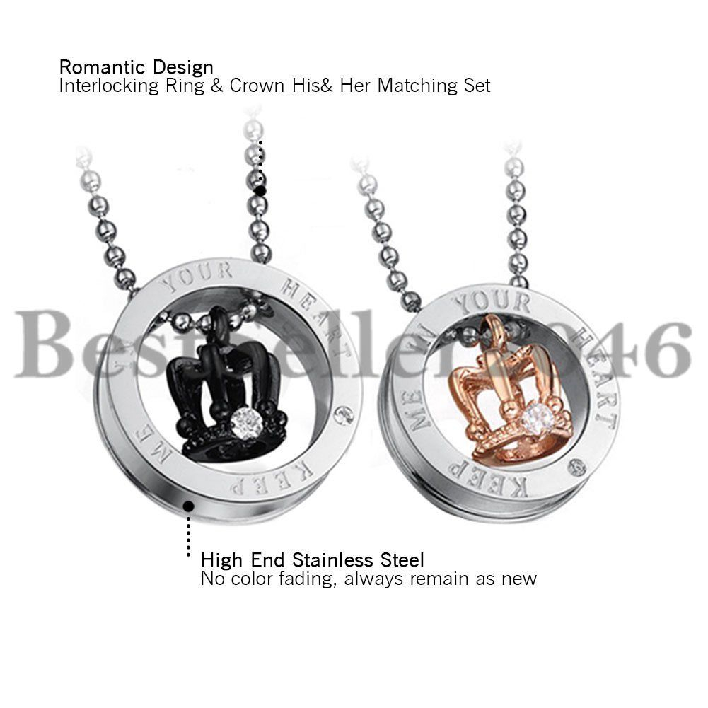 Agentx 2Pcs Couple Crown His&her Promise Matching Love Stainless Steel  Necklace For Newest Crown & Interwined Hearts Pendant Necklaces (View 4 of 25)