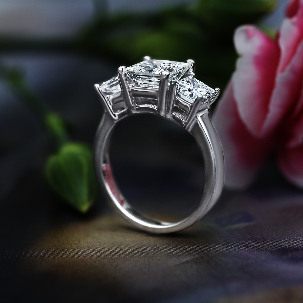 Agi Certified 14K White Gold Three Stone Diamond Engagement Ring With  Center  (View 9 of 25)