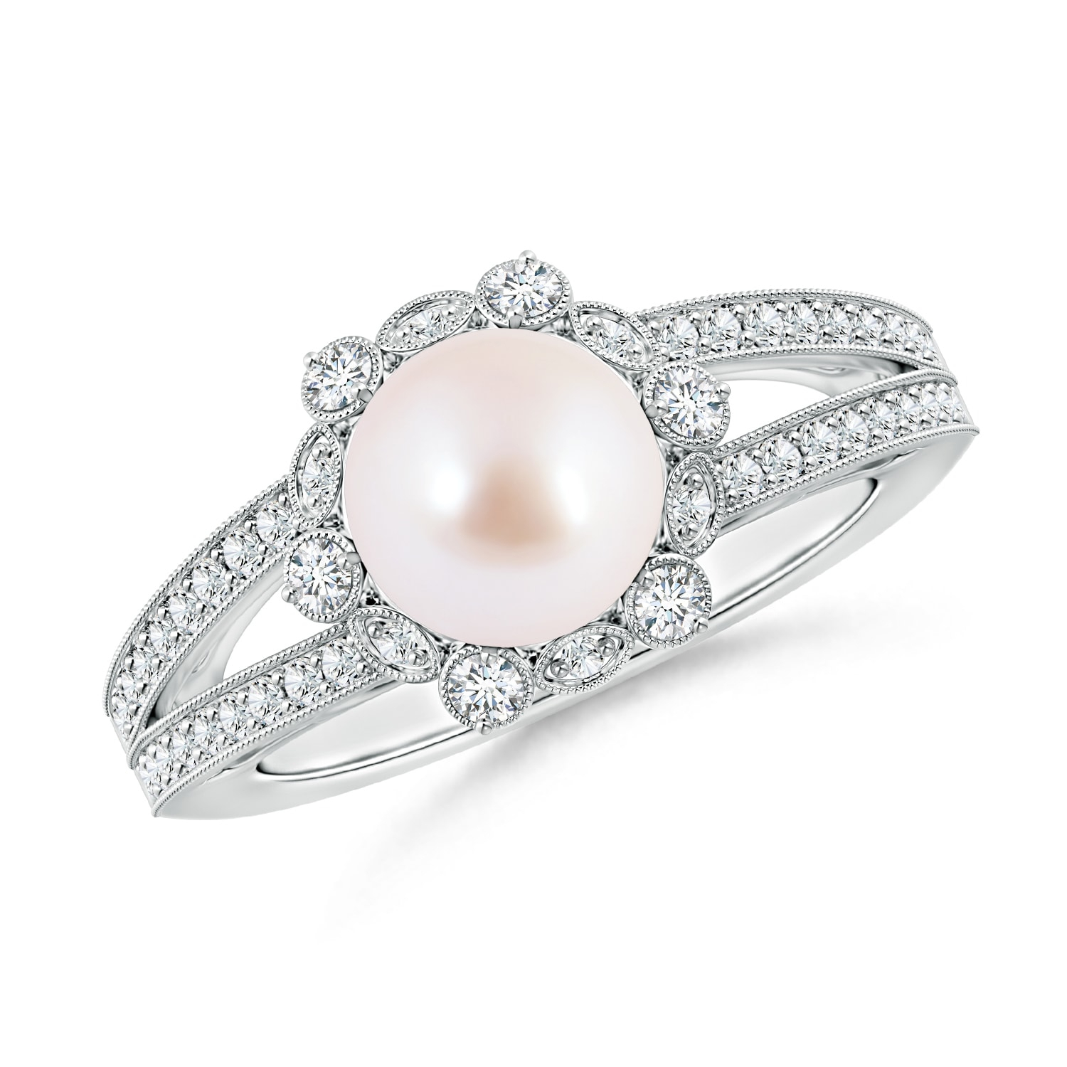 Akoya Cultured Pearl And Diamond Ring With Floral Halo With Best And Newest Pavé Flower Rings (View 4 of 25)