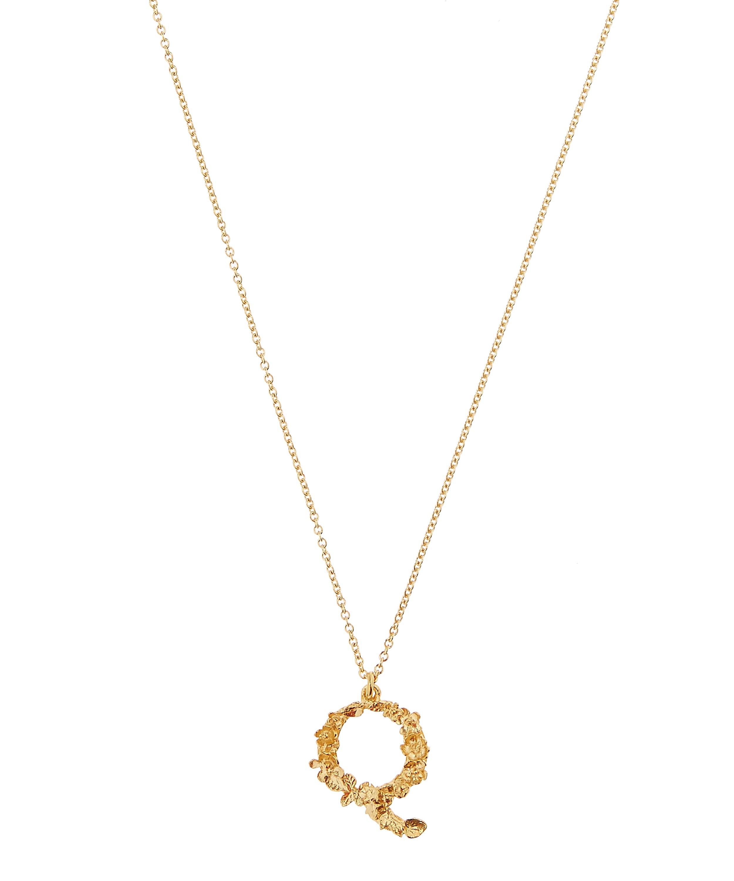 Alex Monroe Gold Plated Floral Letter Q Alphabet Necklace In In Newest Letter Q Alphabet Locket Element Necklaces (Gallery 19 of 26)