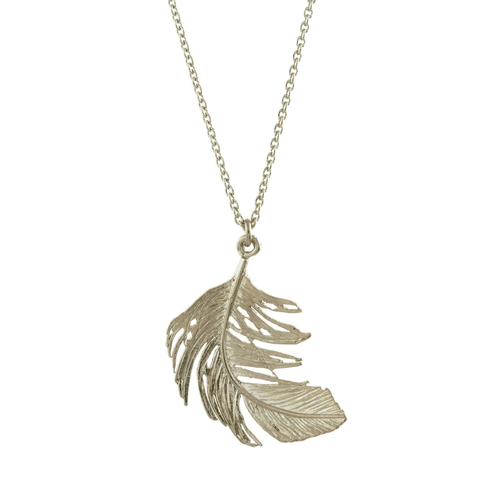 Alex Monroe Silver Big Feather Necklace For Current Single Feather Pendant Necklaces (View 10 of 25)