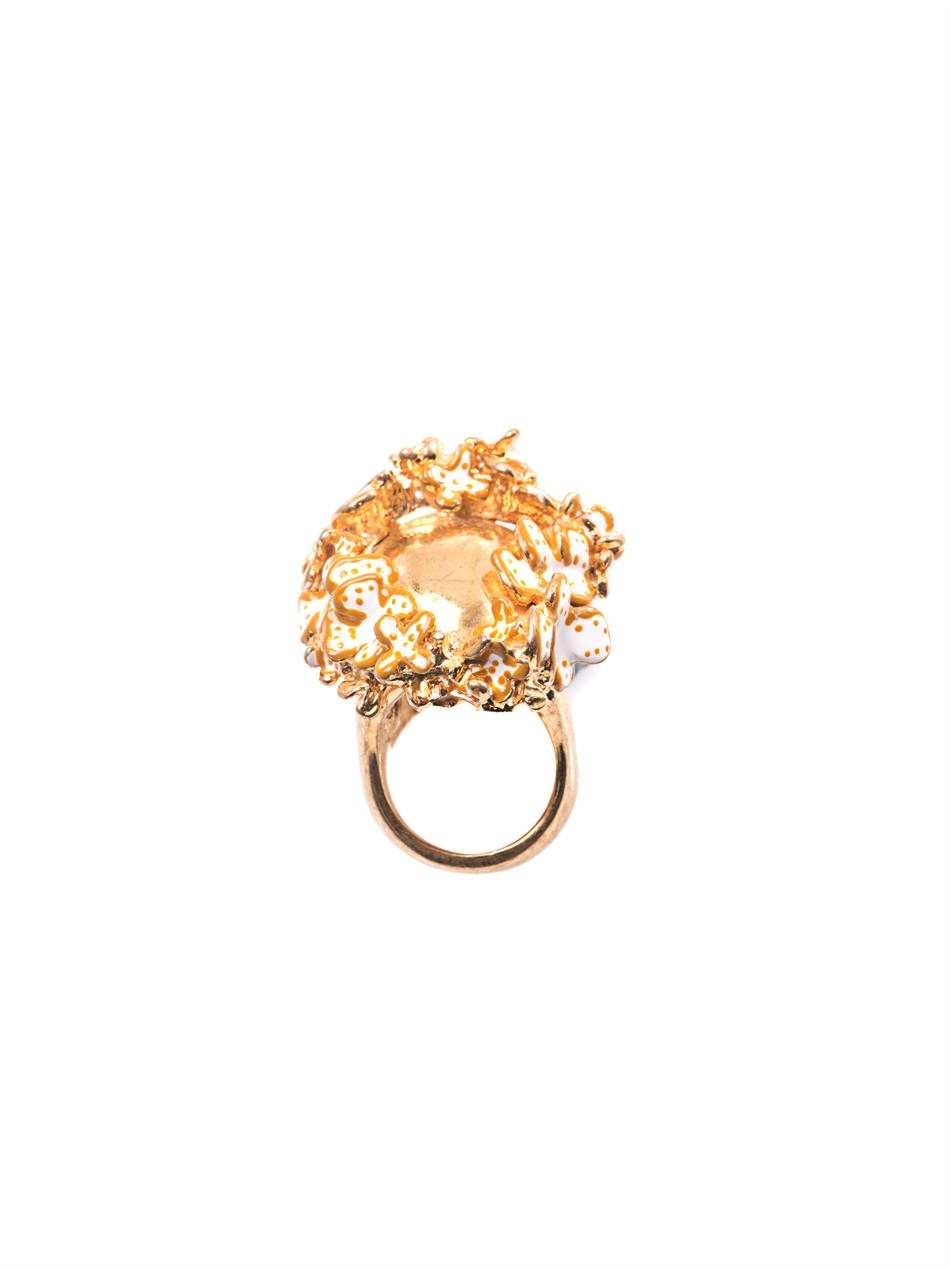Alexander Mcqueen Metallic Flower Crown Skull Ring In Newest Flower Crown Rings (View 4 of 25)