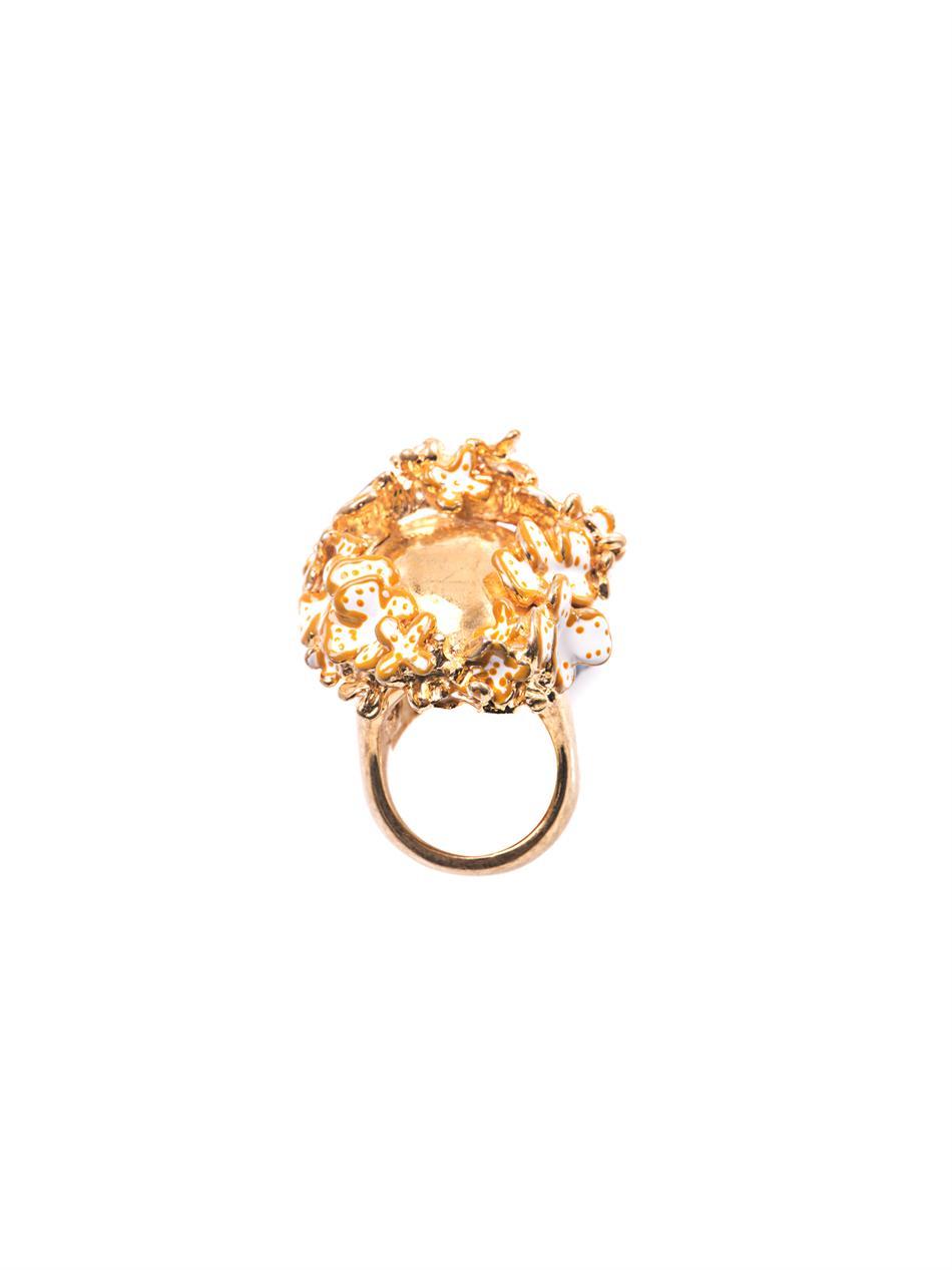 Alexander Mcqueen Metallic Flower Crown Skull Ring With Regard To 2017 Flower Crown Rings (View 8 of 25)