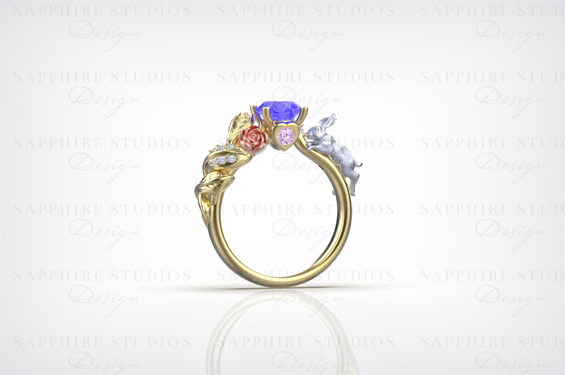 'alice' Natural Tanzanite Pink Sapphire & Diamond Gold Ring – 'two Worlds'  Alice In Wonderland Collection With Regard To Most Recently Released Diamond Layered Anniversary Bands In White Gold (View 1 of 20)