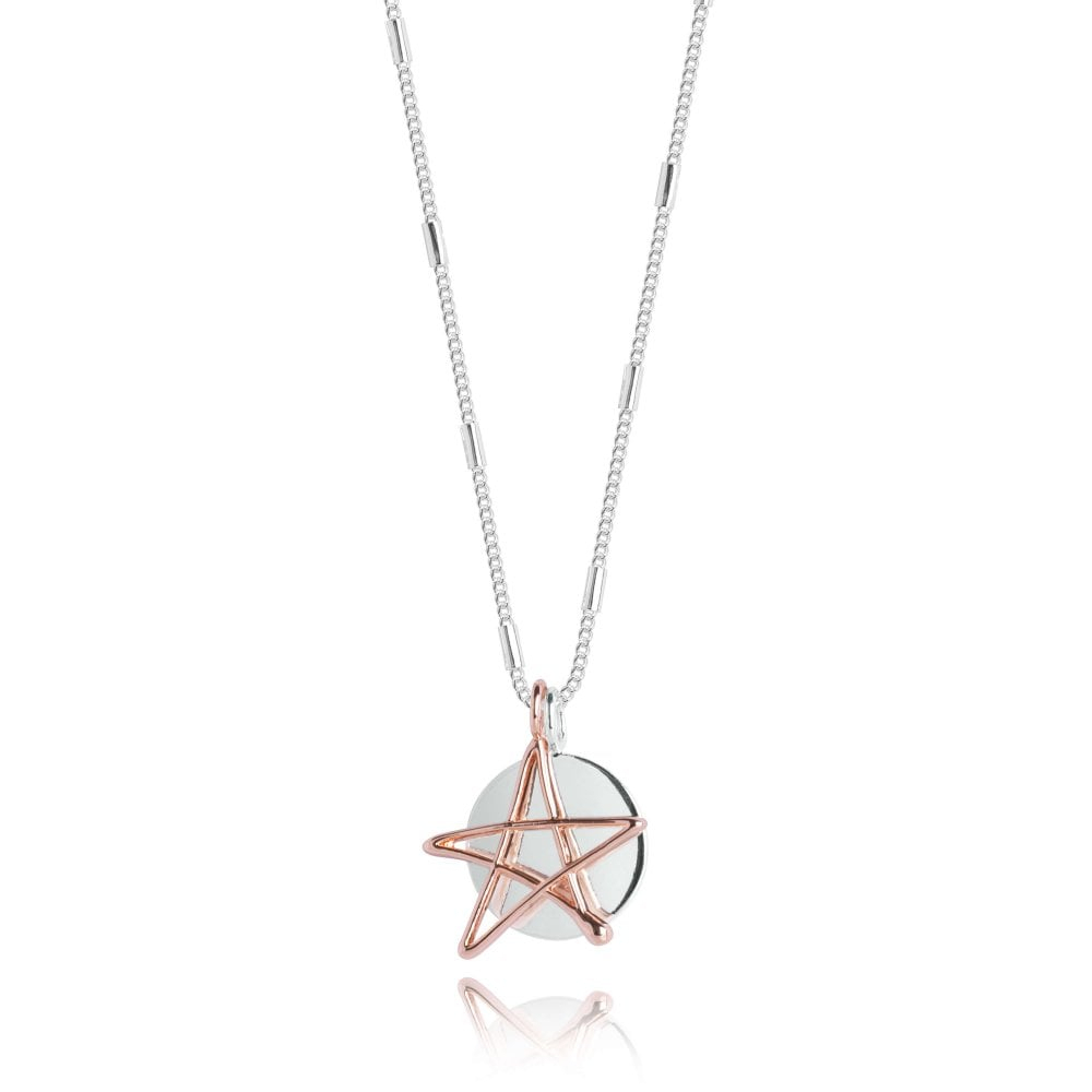Alina Star Necklace – Silver And Rose Gold – Necklace – 46Cm Inside Newest Pavé Star Locket Element Necklaces (Gallery 18 of 25)