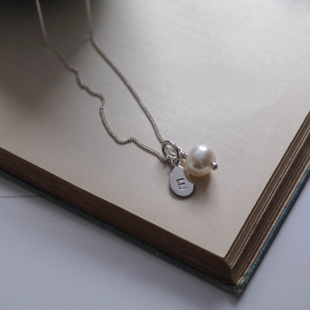 Alphabet Letter Charm And Pearl Necklace In Sterling Silver Pertaining To Most Recently Released Letter R Alphabet Locket Element Necklaces (View 4 of 25)