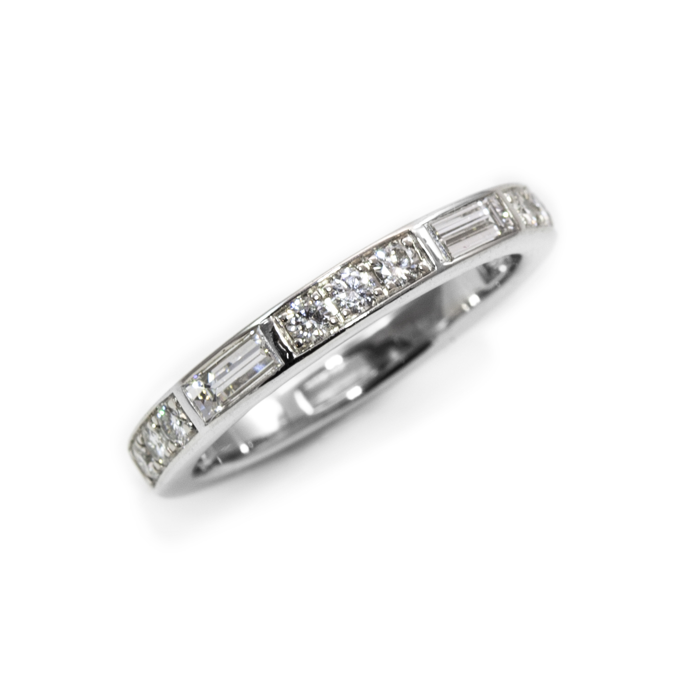 Alternating Baguette And Round Diamond Band — Oliver Smith Inside Current Baguette And Round Diamond Alternating Anniversary Bands In White Gold (View 9 of 25)