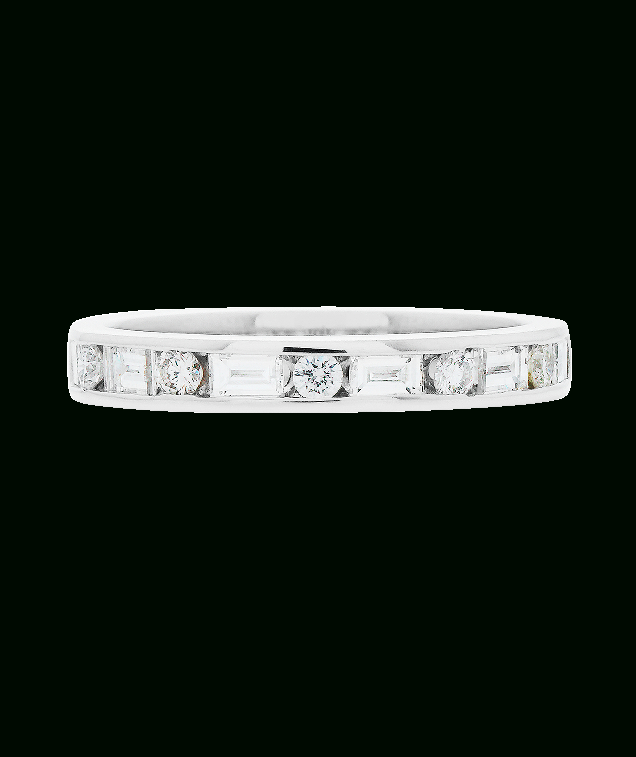 Alternating Diamond Set Band Within Best And Newest Baguette And Round Diamond Alternating Vintage Style Anniversary Bands In White Gold (View 14 of 25)