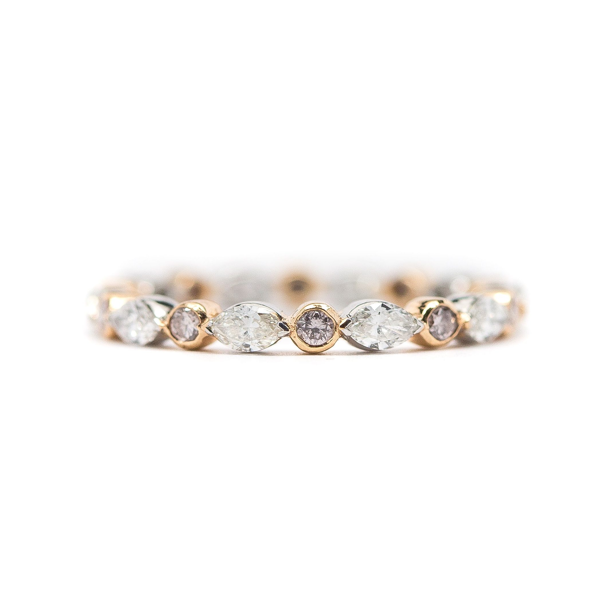 Featured Photo of Marquise And Round Diamond Alternating Anniversary Bands In Rose Gold