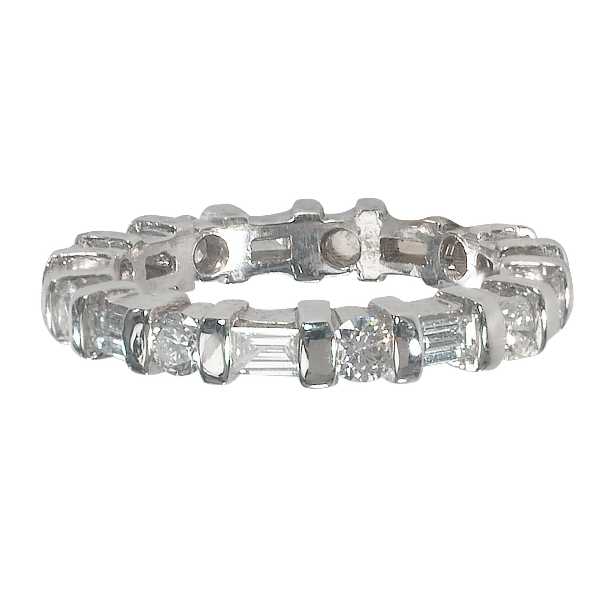Alternating Round & Baguette Diamond Eternity Band For Most Current Marquise And Round Diamond Alternating Anniversary Bands In White Gold (View 17 of 25)