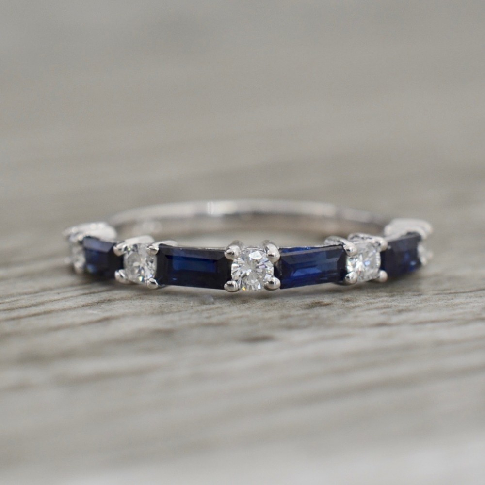 Alternating Sapphire & Diamond Band In White Pertaining To Most Recently Released Baguette And Round Diamond Alternating Anniversary Bands In White Gold (View 10 of 25)