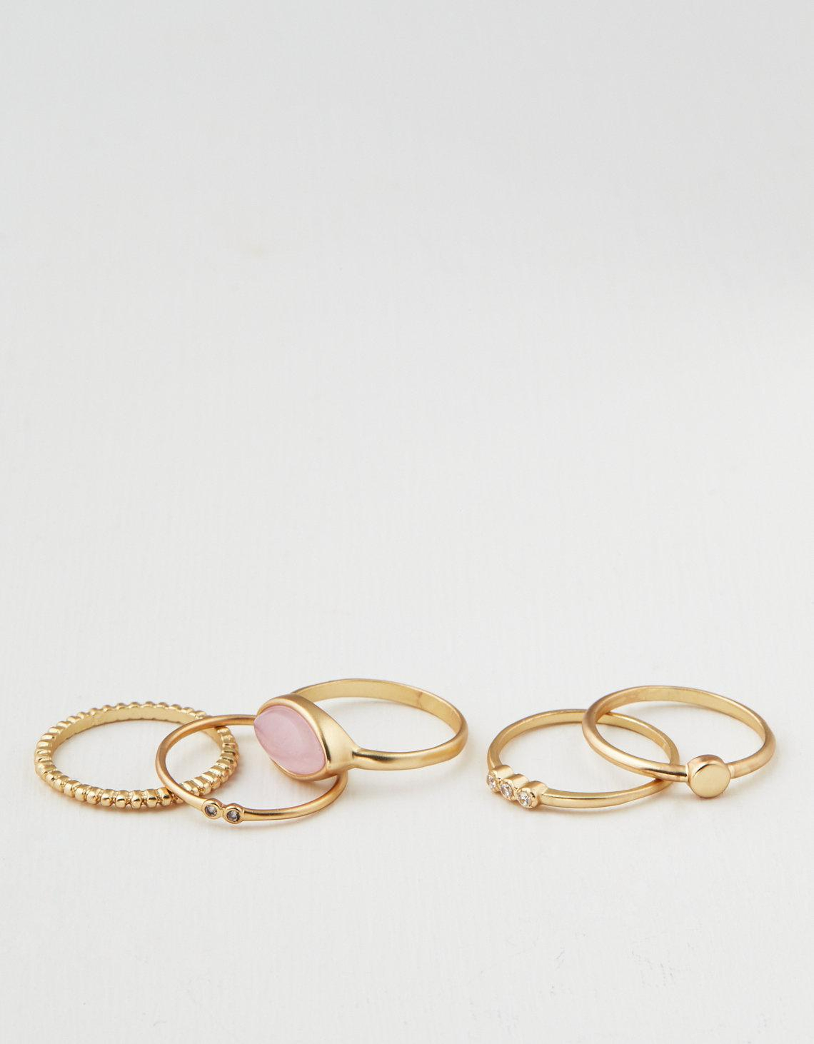 American Eagle Metallic Ae Rose Quartz Stacking Ring 5 Pack Inside Most Up To Date Wheat Grains Wishbone Rings (Gallery 23 of 25)