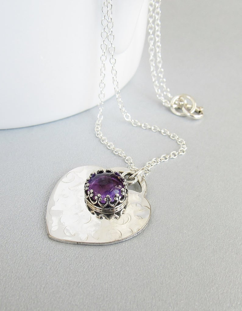Amethyst Heart Necklace, February Birthstone, Heart Jewelry, Sterling  Silver Heart Pendant, Be My Valentine, Heart Jewelry,gift Idea Inside Most Popular Purple February Birthstone Locket Element Necklaces (View 3 of 25)