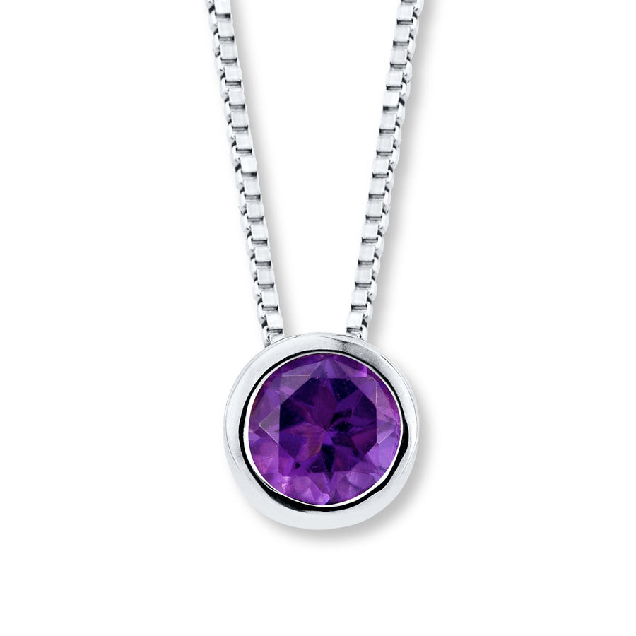Amethyst Necklace Bezel Set Sterling Silver Pertaining To Most Current Purple February Birthstone Locket Element Necklaces (View 5 of 25)