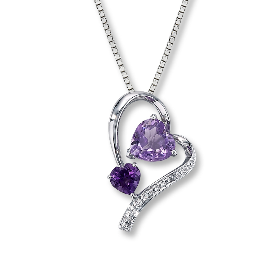 Amethyst Necklace Diamond Accent Sterling Silver For Recent Purple February Birthstone Locket Element Necklaces (View 6 of 25)