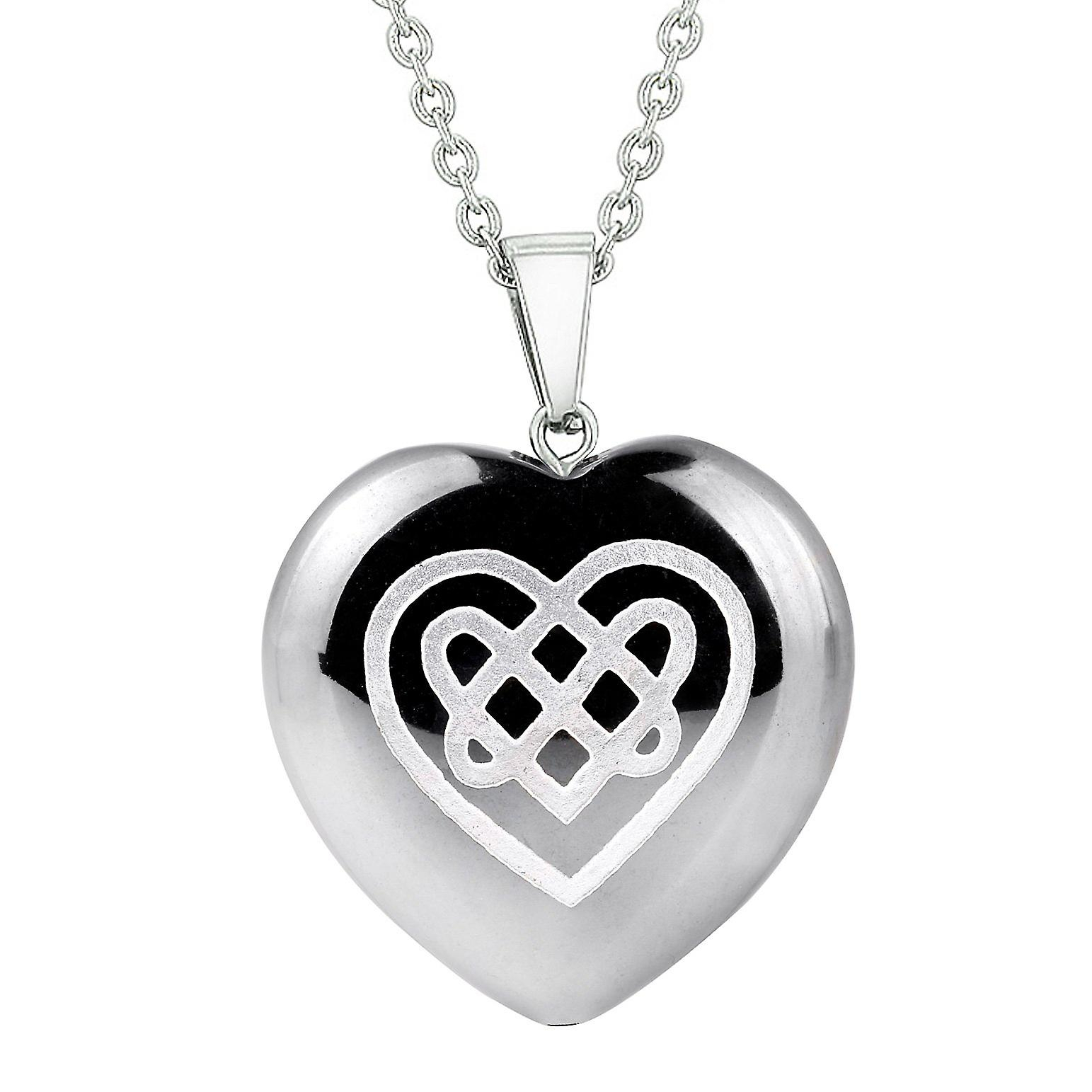 Amulet Celtic Shiled Knot Heart Powers Protection Energy Hematite Puffy  Heart Pendant Necklace Regarding Most Recent Knotted Heart Pendant Necklaces (View 2 of 25)
