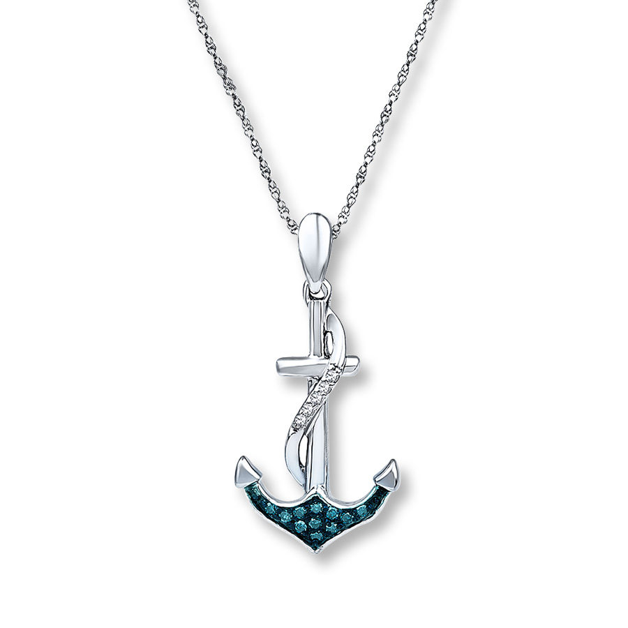 Anchor Necklace 1/15 Ct Tw Blue Diamonds Sterling Silver For 2019 Classic Anchor Chain Necklaces (View 18 of 25)