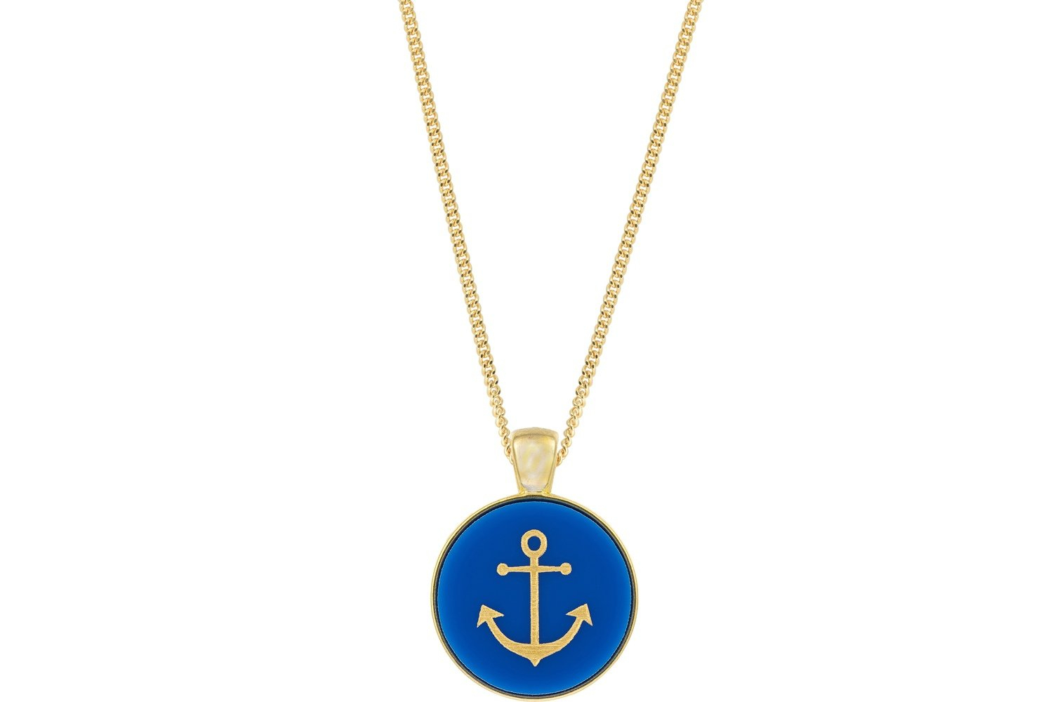 Anchor Pendant Classic Style With Bezel On Chain Necklace Inside Latest Classic Anchor Chain Necklaces (View 6 of 25)