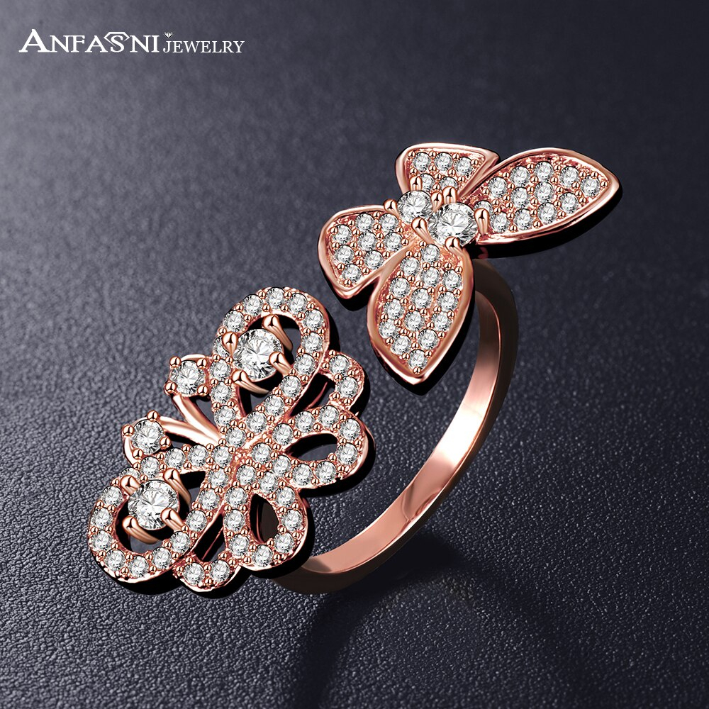 Anfasni Lovely Ladies Butterfly Ring Rose Golden Color Open Rings In Current Butterfly Open Rings (View 4 of 25)