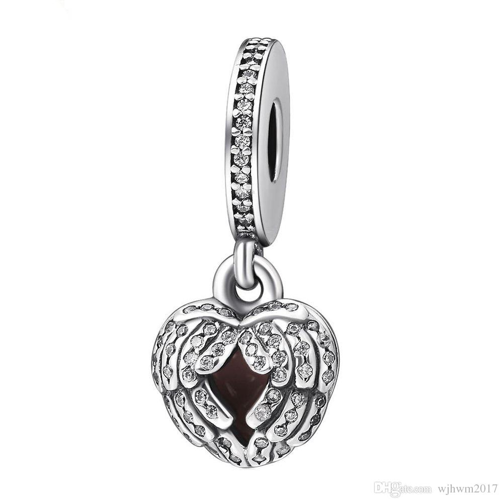 Angel Wing Charm Pendants 925 Sterling Silver Dangle Pave Cz Feather Heart  Charms Beads Diy Brand Logo Bracelets Jewelry Accessories Hb359 Within Most Recent Pavé Angel Wing Locket Element Necklaces (View 4 of 25)