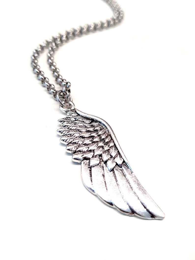 Angel Wings Necklace F/ Men. Cool Guy Pendant Necklace. Stainless Steel  Chain Necklace. Gift For Him (View 8 of 25)