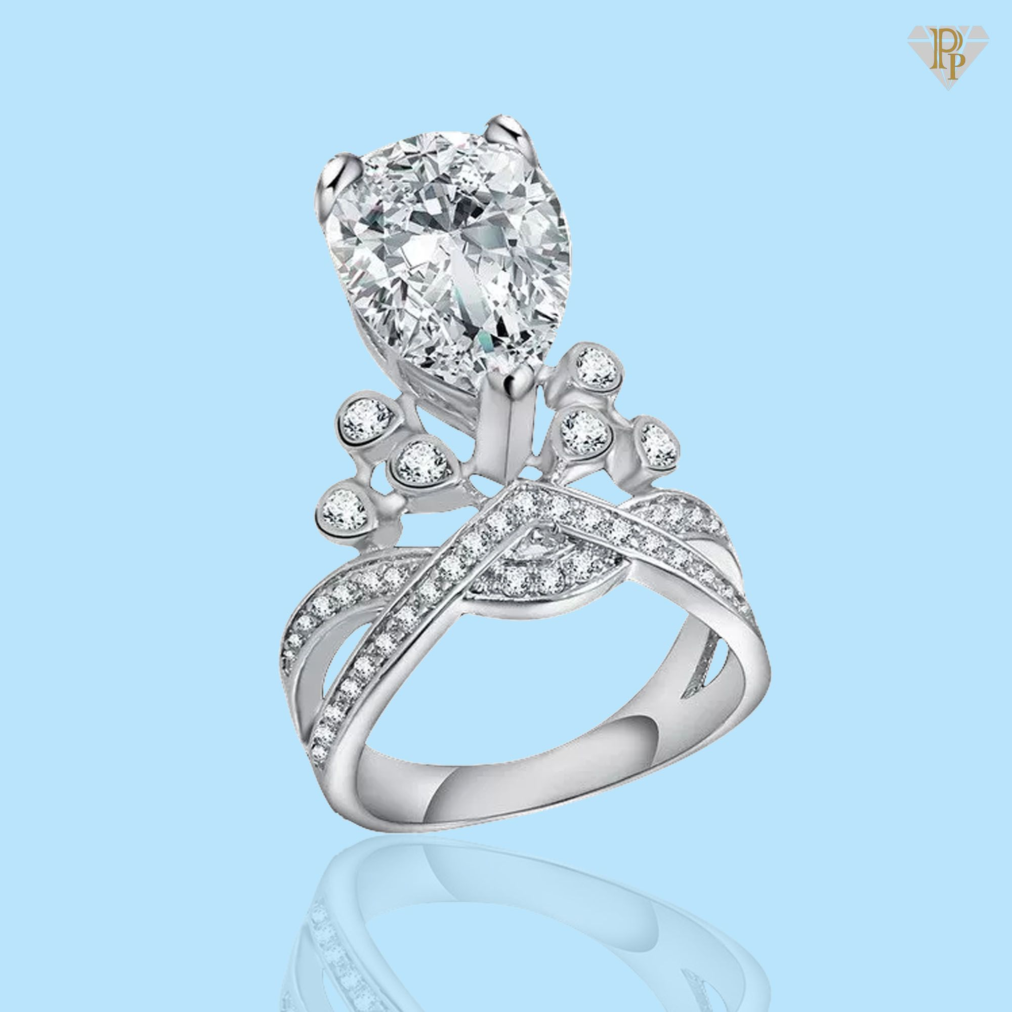 Angela – Luxury Oval Crown Ring | Peridotpalace Rings | Royal Rings Inside 2017 Clear Sparkling Crown Rings (View 10 of 25)