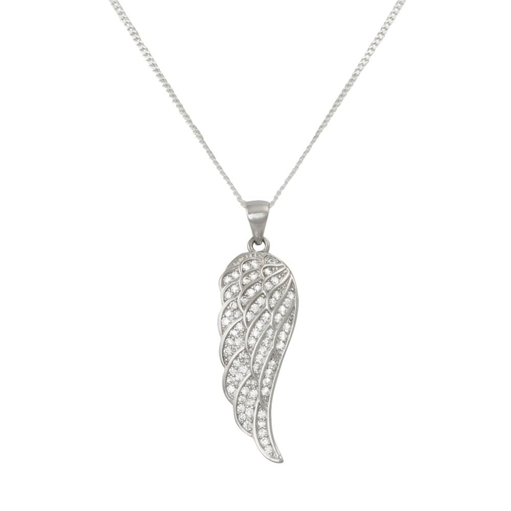 Angelica Cubic Zirconia Sterling Silver Angel Wing Pendant Inside Current Angel Wing Pendant Necklaces (View 10 of 25)