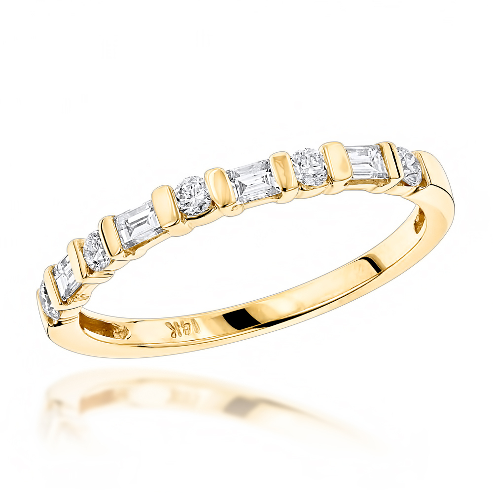 Anniversary Rings 14k Gold Baguette Round Diamond Womens Wedding Band (View 8 of 25)