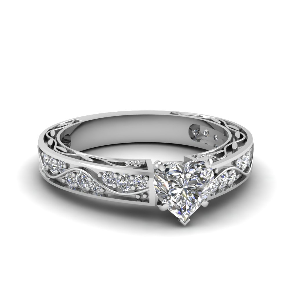 """Antique Filigree Diamond Ring Within Most Up To Date Diamond Accent Five Stone """"s"""" Anniversary Bands In White Gold (View 7 of 25)"""