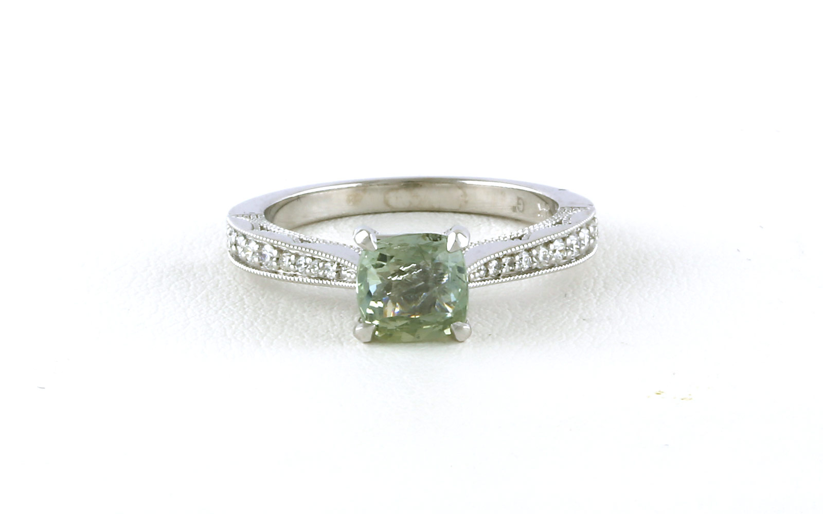 Antique Style Cathedral Light Green Montana Sapphire Ring With Diamond  Accents In White Gold Regarding Newest Diamond Accent Vintage Style Anniversary Bands In White Gold (View 6 of 25)