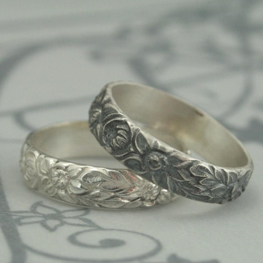 Antique Style Wedding Ring–The Dahlia Band–Sterling Silver Wedding With Most Current Classic Daisy Flower Band Rings (View 7 of 25)