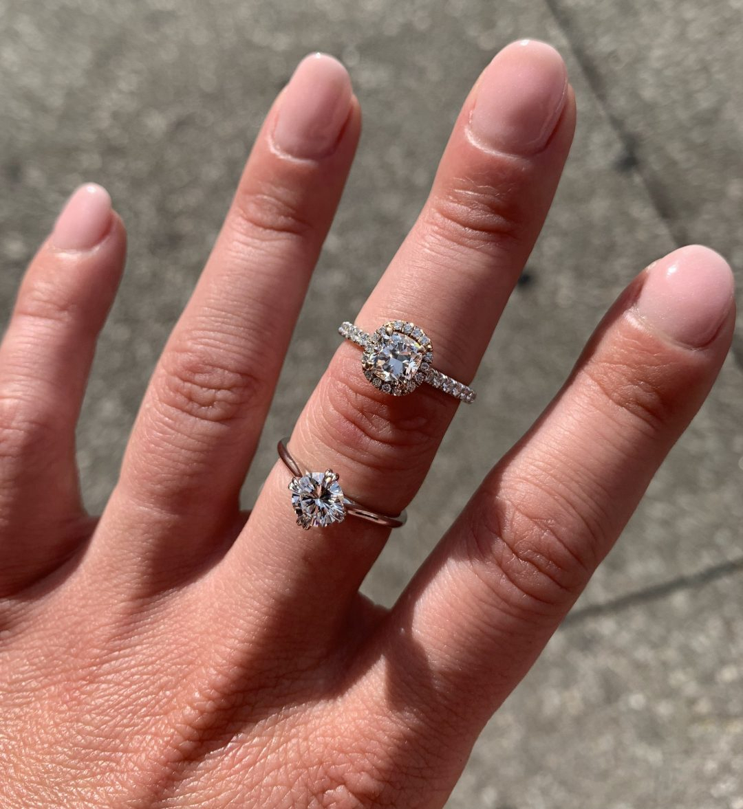Are Halo Engagement Rings Fading Out Of Style? – Buchroeders Intended For 2018 Sparkling Twisted Lines Rings (View 12 of 25)