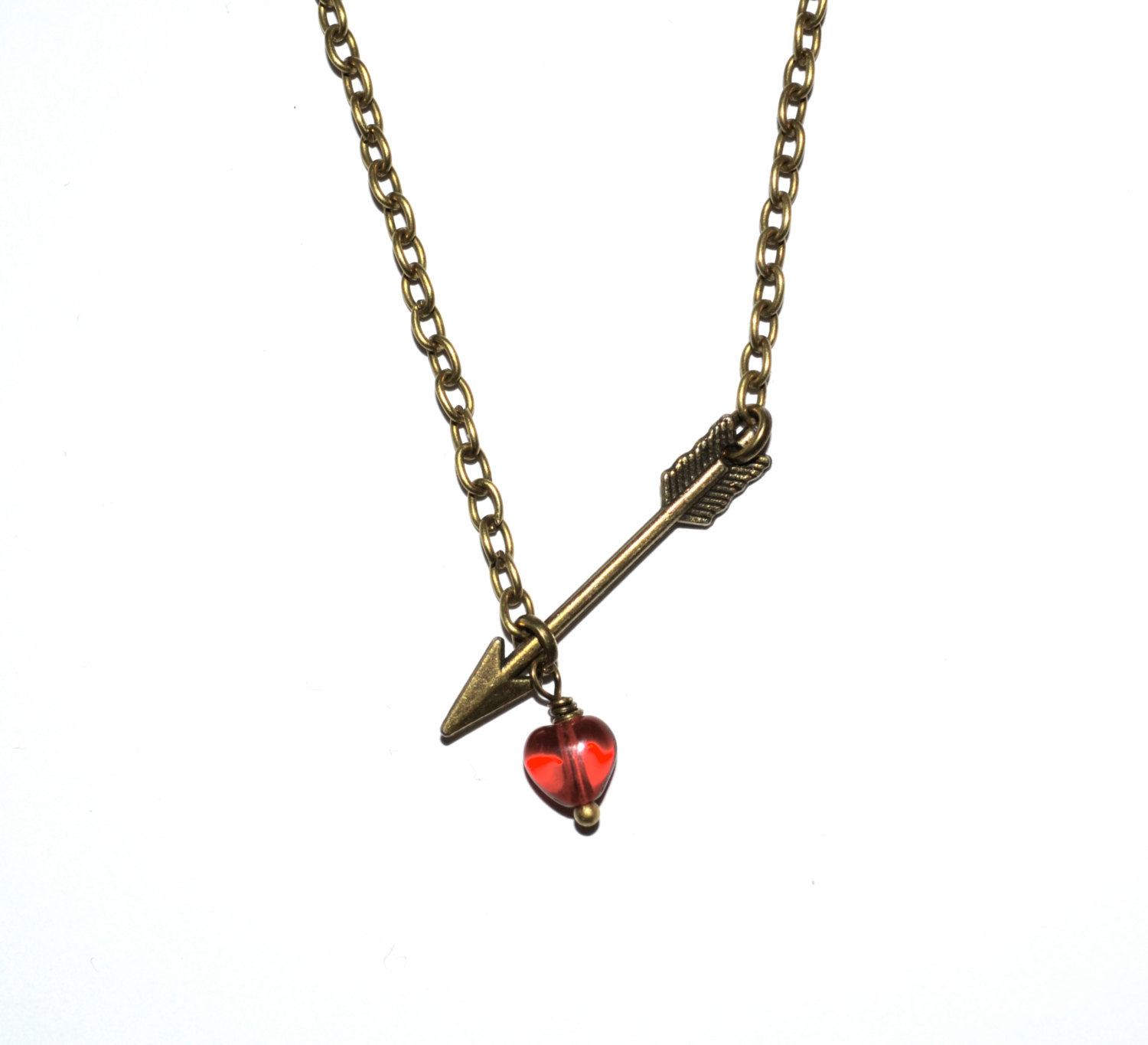 Arrow Necklace, Red Love Heart, Cupid's Arrow, Simple Necklace, Arrow Pendant, Bronze Arrow, Everyday Jewellery, Love Heart, Heart And Arrow With Regard To 2019 Arrow Of Cupid Dangle Charm Necklaces (View 12 of 25)
