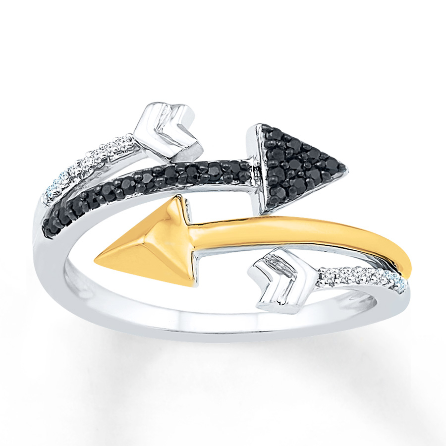 Arrow Ring 1/8 Ct Tw Black Diamonds Sterling Silver/10k Gold Pertaining To Current Wrap Around Arrow Rings (View 6 of 25)