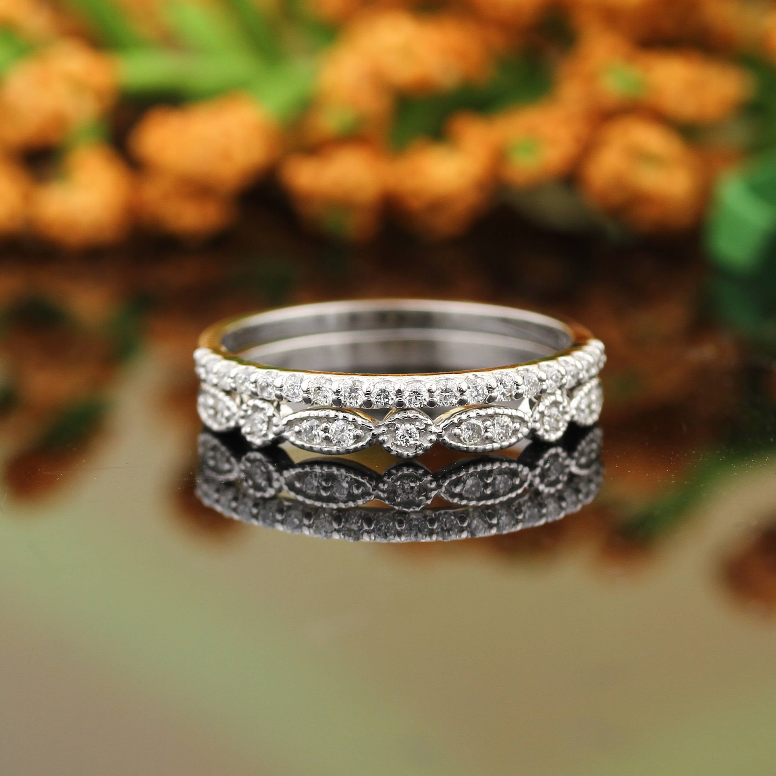 Art Deco Antique Style Diamond Milgrain Anniversary Ring Throughout Most Recent Diamond Art Deco Inspired Anniversary Bands In White Gold (View 9 of 25)