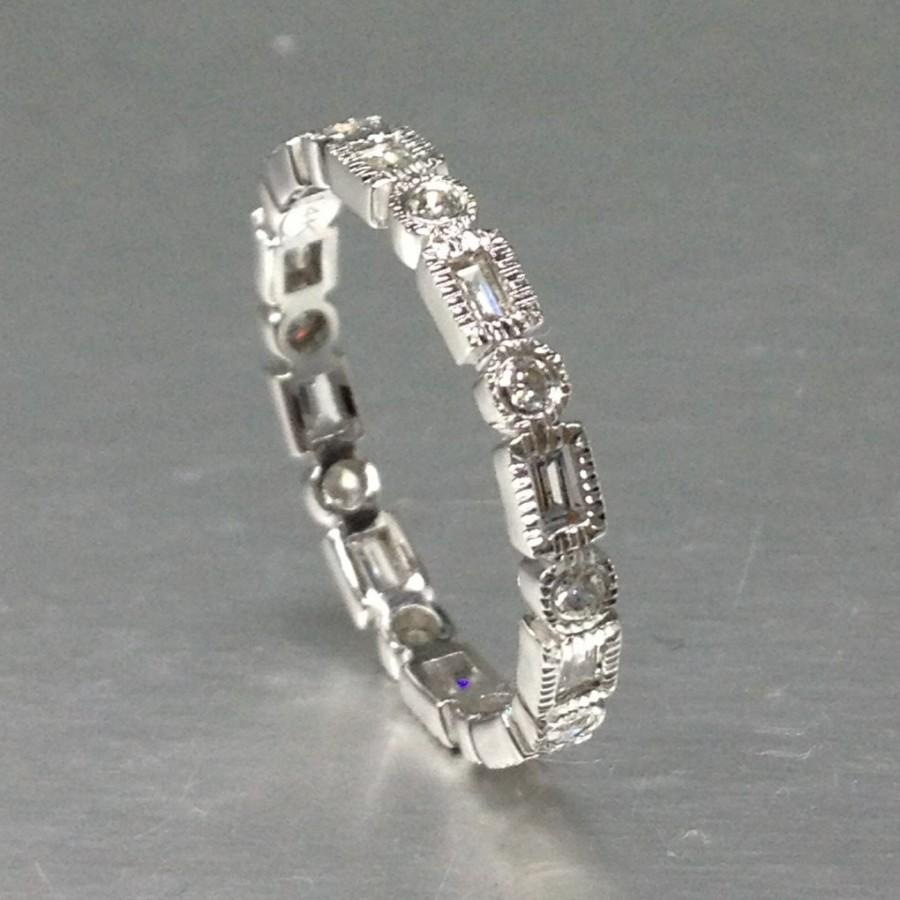 Art Deco Diamond Wedding Ring,solid 14k White Gold With Current Diamond Eternity Anniversary Vintage Style Bands In White Gold (View 4 of 25)