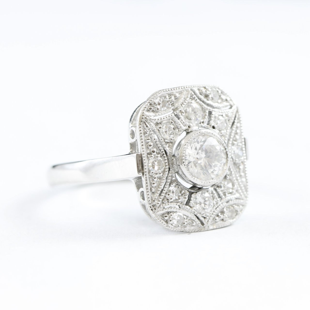 Art Deco Inspired Handmade Diamond Cluster Ring In 18 Carat White Gold In 2019 Diamond Art Deco Inspired Anniversary Bands In White Gold (View 6 of 25)